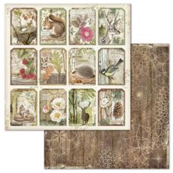 Stamperia skräppipaperi Forest Tag