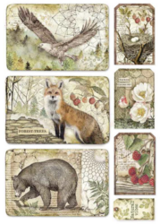 Stamperia riisipaperi Forest Framed Eagle, Bear, Fox