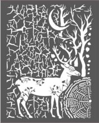 Stamperia sapluuna Cosmos Deer And Bark