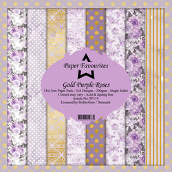 Dixi Craft Gold Purple Roses -paperipakkaus