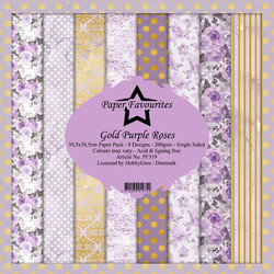 Dixi Craft Gold Purple Roses -paperipakkaus, 12