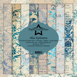 Dixi Craft Blue Ephemera -paperipakkaus, 12