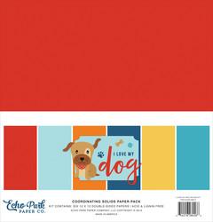 Echo Park I Love My Dog Solids -paperipakkaus, 12