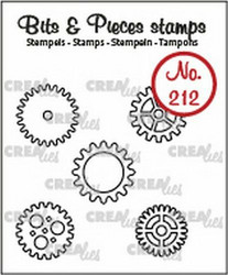 Crealies Bits & Pieces -leimasinsetti Gears, small, outline