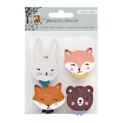 Crate Paper Magical Forest Wood Veneer Clothespins, pyykkipojat