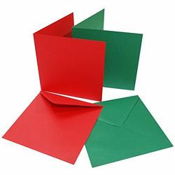 CraftUK korttipohjat ja kirjekuoret, punainen ja vihreä, 6