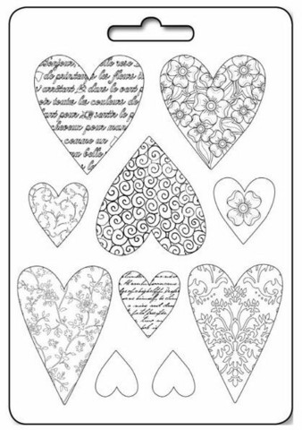 Stamperia Maxi Mould -muotti Textured Hearts