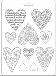 Stamperia Texture Impressions Mould -muotti Hearts