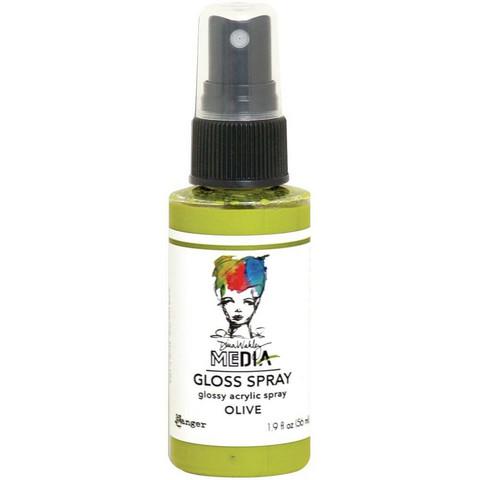 Dina Wakley Media Gloss Spray -suihke, sävy Olive, 56 ml