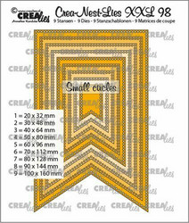 Crealies XXL 98 -stanssisetti Fishtail Banner with Small Circles