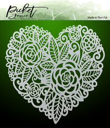 Picket Fence sapluuna Flowers In A Heart