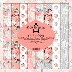 Dixi Craft Coral and Grey -paperipakkaus, 12