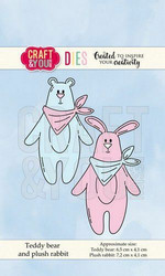 Craft & You stanssisetti Teddy Bear and Plush Rabbit
