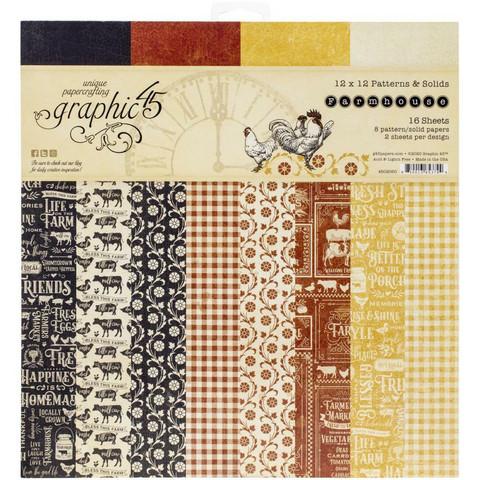 Graphic 45 -paperipakkaus Farmhouse, Patterns & Solids 12