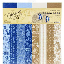 Graphic 45 -paperipakkaus Ocean Blue, Patterns & Solids 12