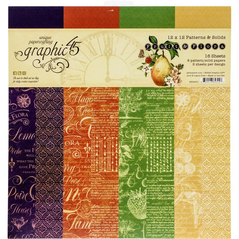 Graphic 45 -paperipakkaus Fruit & Flora, Patterns & Solids 12