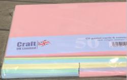 CraftUK korttipohjat ja kirjekuoret, pastelli, A6, 50 kpl