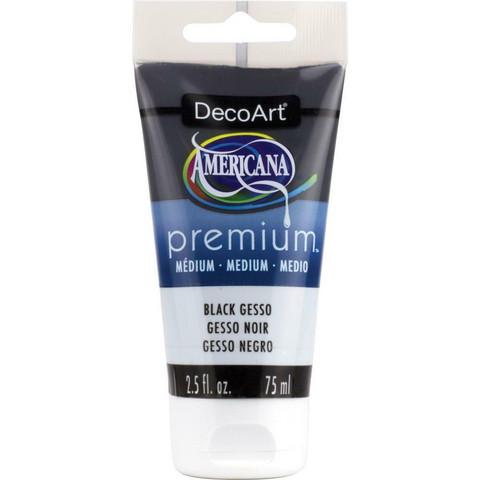 DecoArt Americana Premium Medium, Gesso, musta, 75 ml