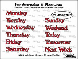 Crealies stanssisetti Journalzz & Plannerzz Weekdays