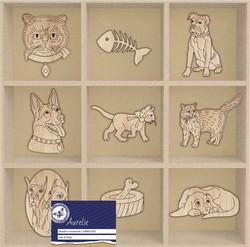 Aurelie Cats & Dogs -puukoristeet, 45 kpl