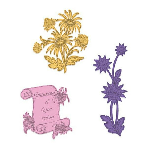 Heartfelt Creations Wild Aster Scroll & Clusters -stanssisetti