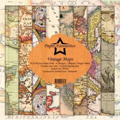 Dixi Craft Vintage Maps -paperipakkaus, 12