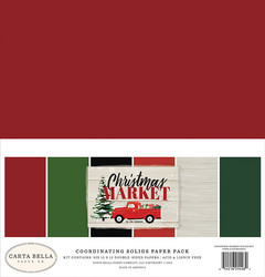 Carta Bella Christmas Market Solids -paperipakkaus, 12