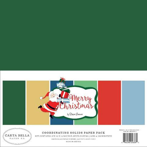 Carta Bella Merry Christmas Solids -paperipakkaus, 12
