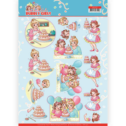 Yvonne Creations Bubbly Girls Party 3D-kuvat Baking, leikattava