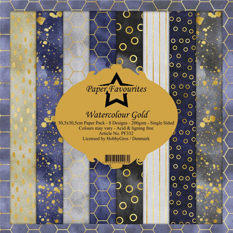 Dixi Craft Watercolour Gold -paperipakkaus, 12