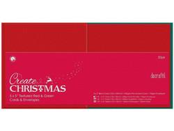 Docrafts korttipohjat ja kirjekuoret, 13.5 x 13.5 cm, joulu. 50 kpl