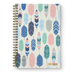 Simple Stories Carpe Diem Hardcover Notebook -muistikirja, Feathers