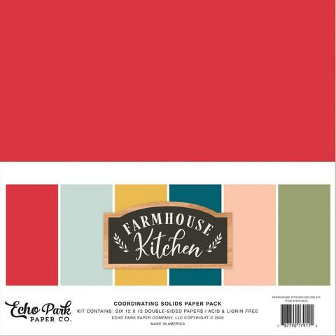 Echo Park Farmhouse Kitchen Solids -paperipakkaus, 12