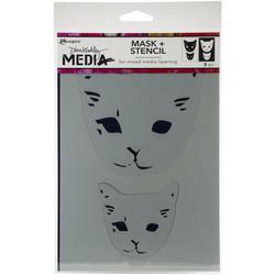 Dina Wakley Media sapluuna- ja maskisetti Cat Head, 9