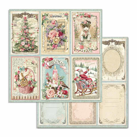 Stamperia Pink Christmas skräppipaperi Rounds Cards