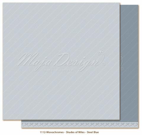 Maja Design Monochromes - Shades of Miles  skräppipaperi Steel Blue