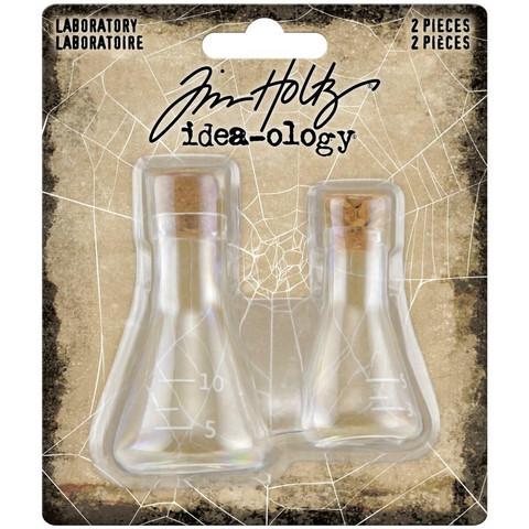Tim Holtz Idea-Ology Small Corked Glass Flasks -koristeet, 2 kpl