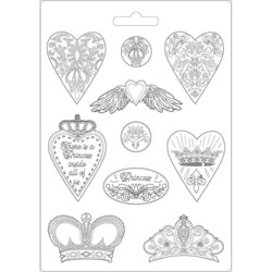 Stamperia Maxi Mould -muotti Hearts and Crowns