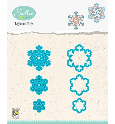 Nellie's Choice stanssisetti Layered Snowflakes 05