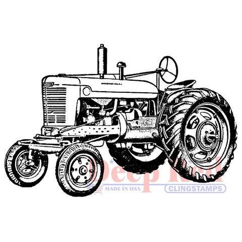 Deep Red leimasin Vintage Farm Tractor