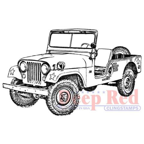 Deep Red leimasin Vintage Military Jeep