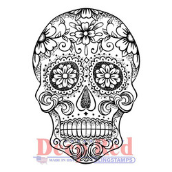 Deep Red leimasin Sugar Skull