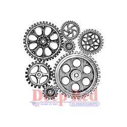 Deep Red leimasin Cogs & Gears