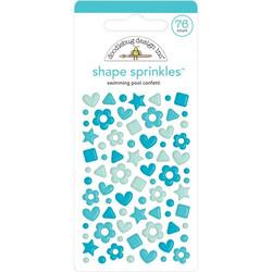 Doodlebug Shape Sprinkles Enamel tarrat, Swimming Pool Confetti