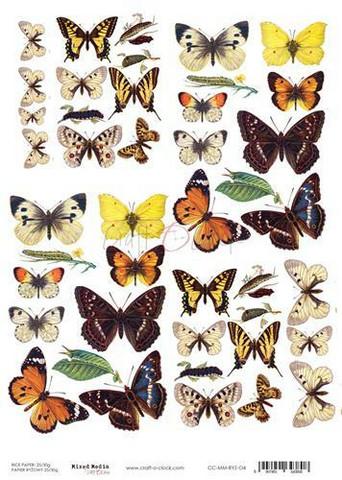 Craft O'clock riisipaperi Butterflies