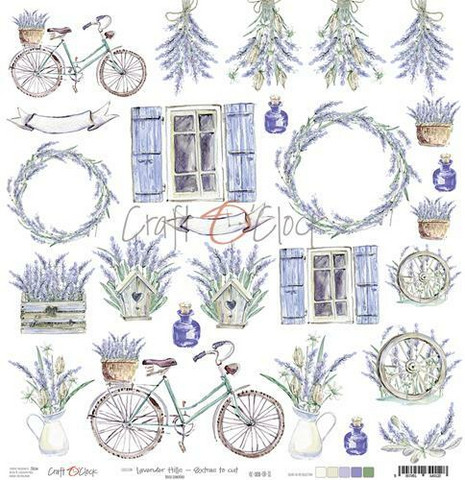 Craft O'clock skräppipaperi Lavender Hills Extras To Cut