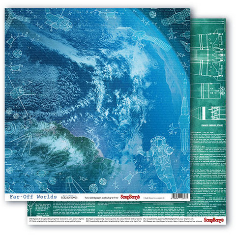 Scrapberry skräppipaperi Far-Off Worlds, Blue Marble