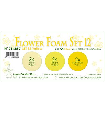 Leane Creatief Flower Foam -softislevy kukkien tekoon, setti 12, yellow