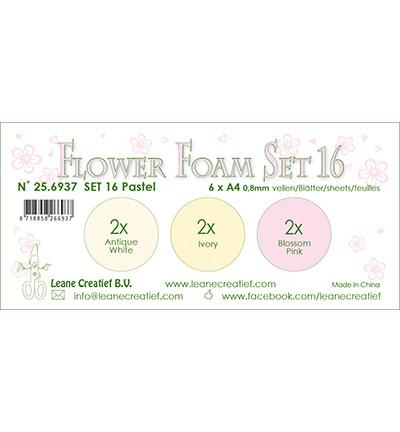 Leane Creatief Flower Foam -softislevy kukkien tekoon, setti 16, pastel