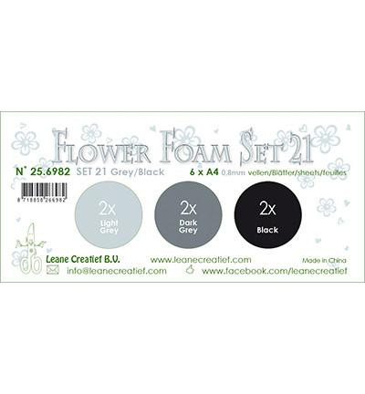 Leane Creatief Flower Foam -softislevy kukkien tekoon, setti 21, grey / black